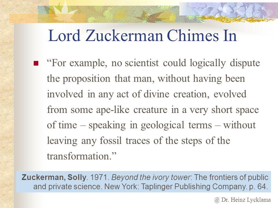 Lord Zuckerman Chimes In