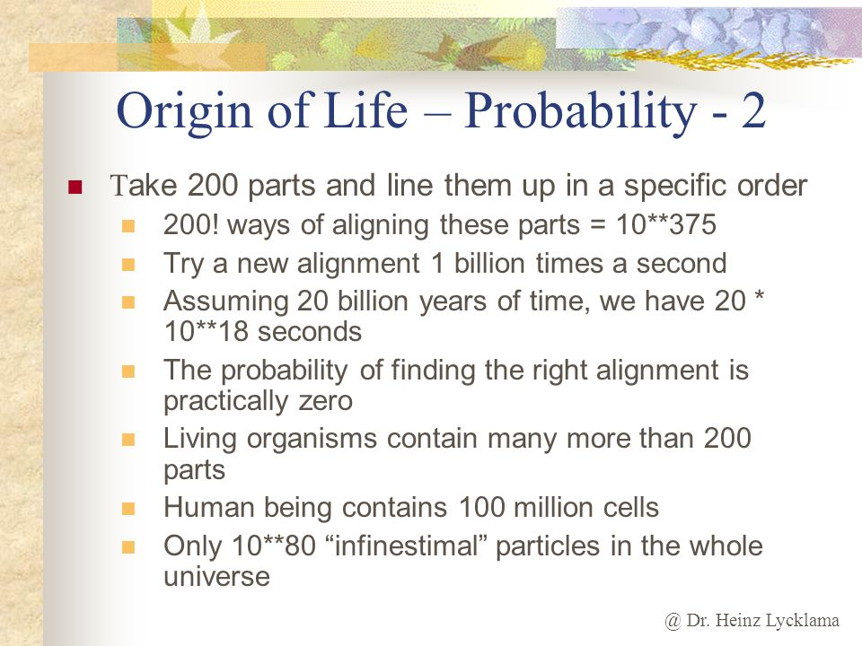 Origin of Life – Probability - 2