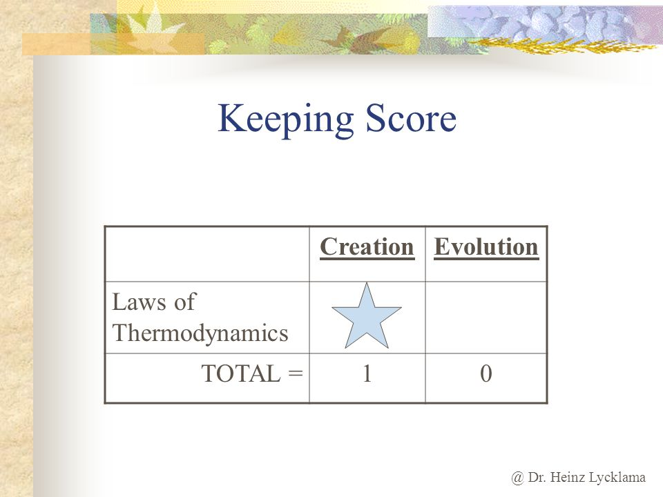 Keeping Score Creation Evolution Laws of Thermodynamics TOTAL = 1