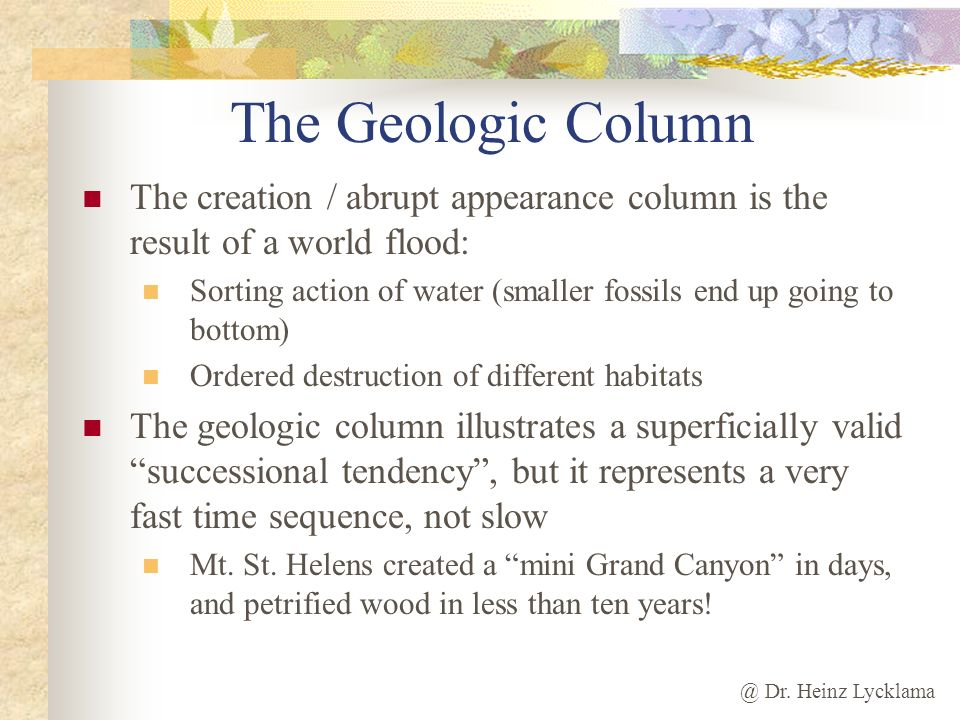 The Geologic Column The creation / abrupt appearance column is the result of a world flood: