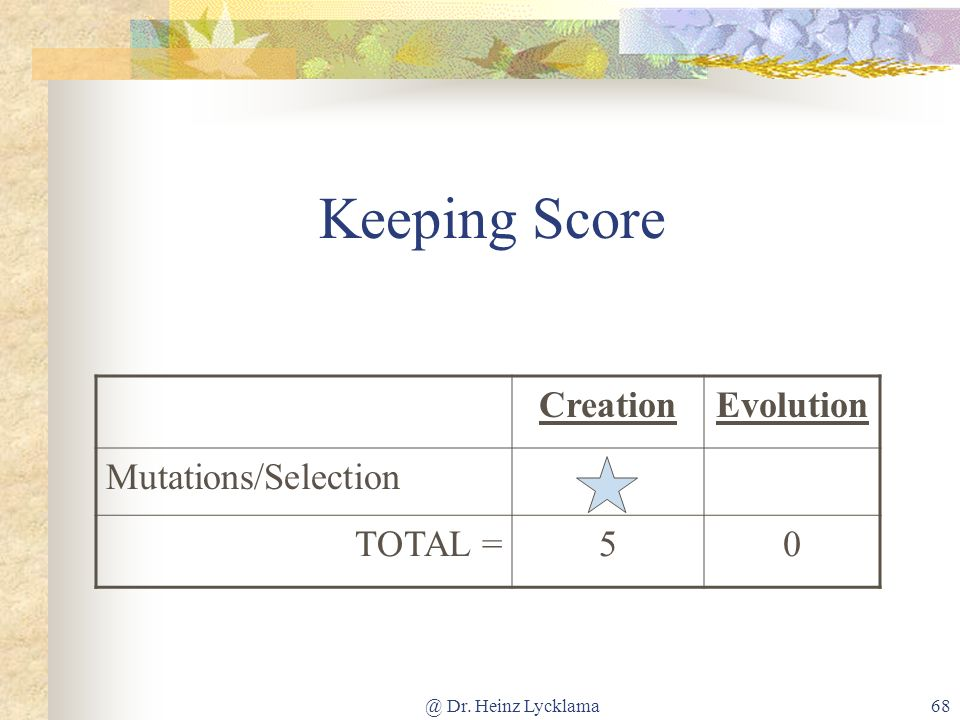 Keeping Score Creation Evolution Mutations/Selection TOTAL = 5