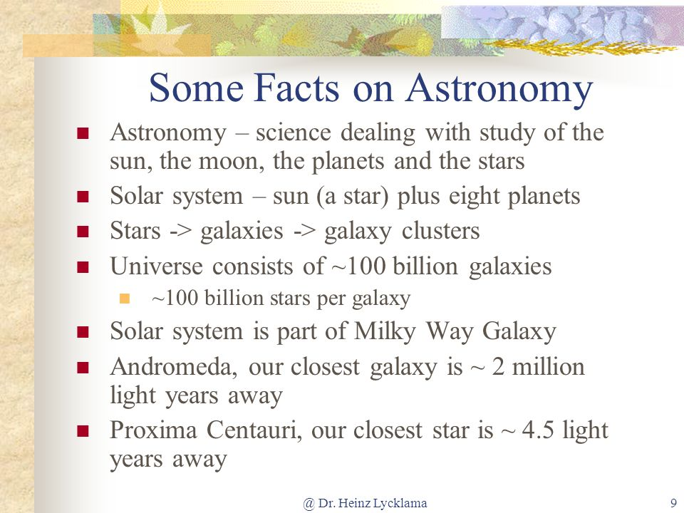 Some Facts on Astronomy