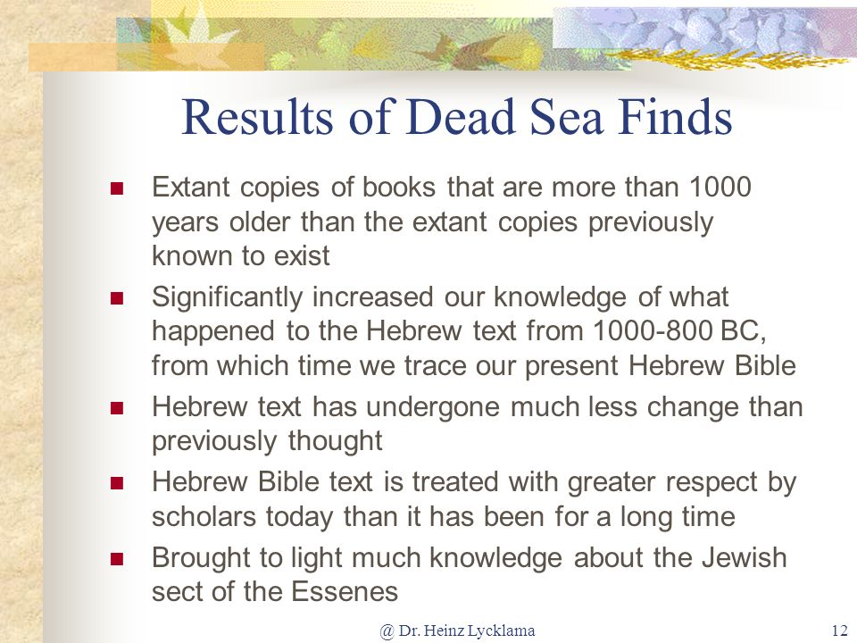 Results of Dead Sea Finds