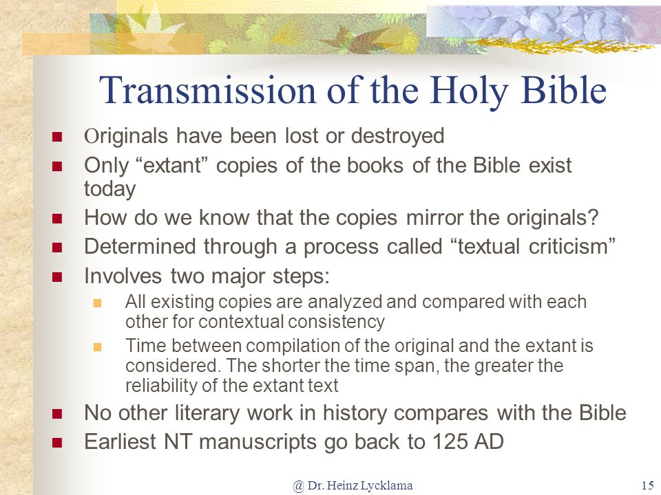 Transmission of the Holy Bible