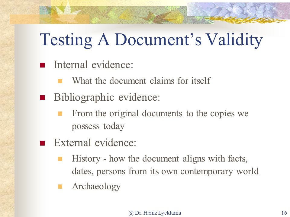 Testing A Document's Validity