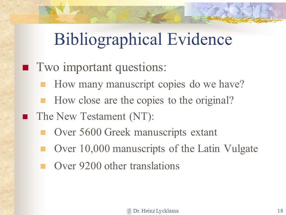 Bibliographical Evidence