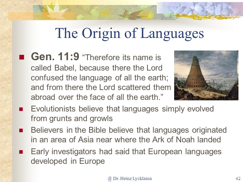 The Origin of Languages