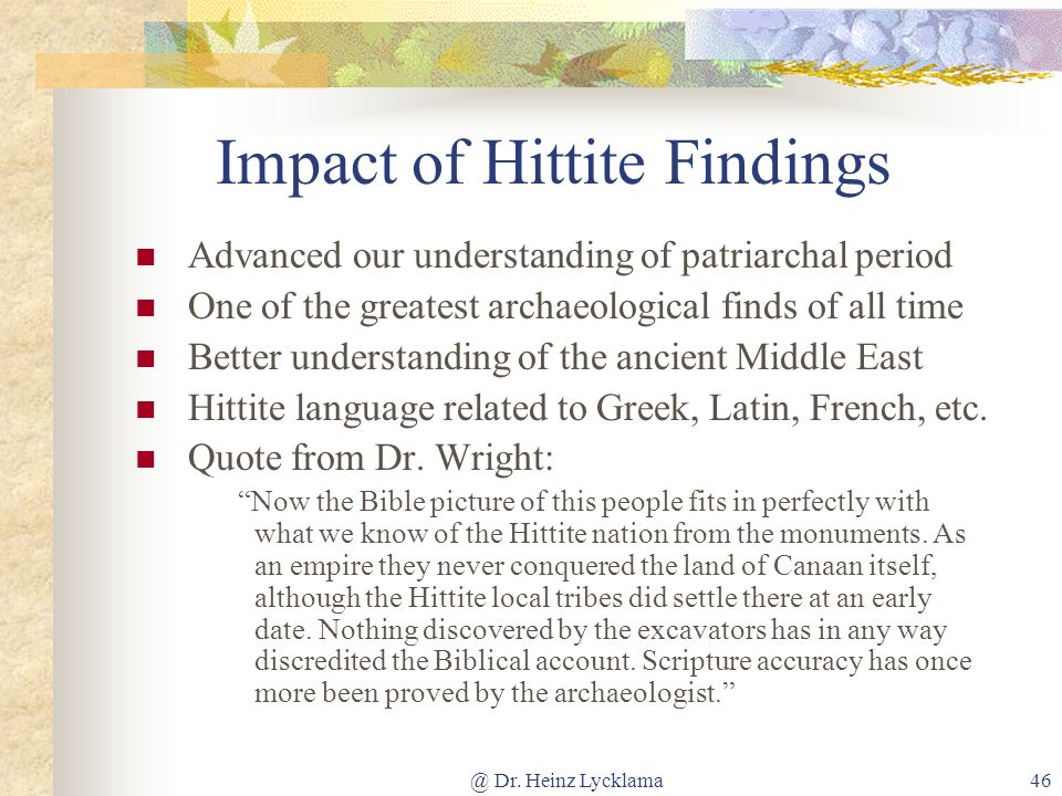 Impact of Hittite Findings