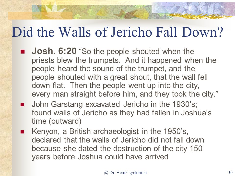 Did the Walls of Jericho Fall Down