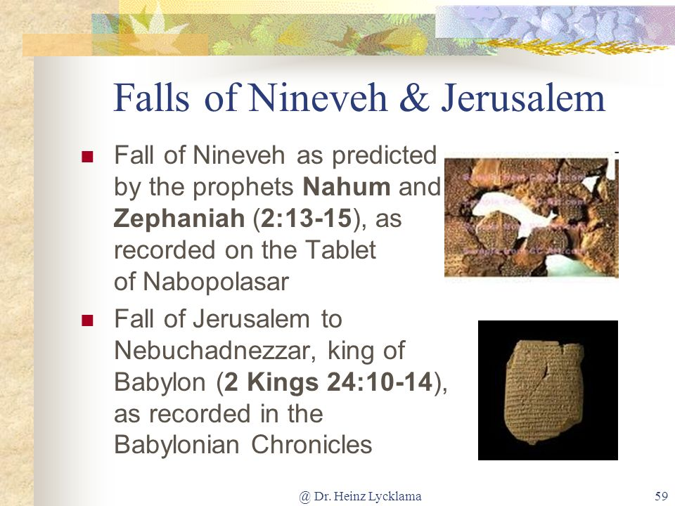 Falls of Nineveh & Jerusalem