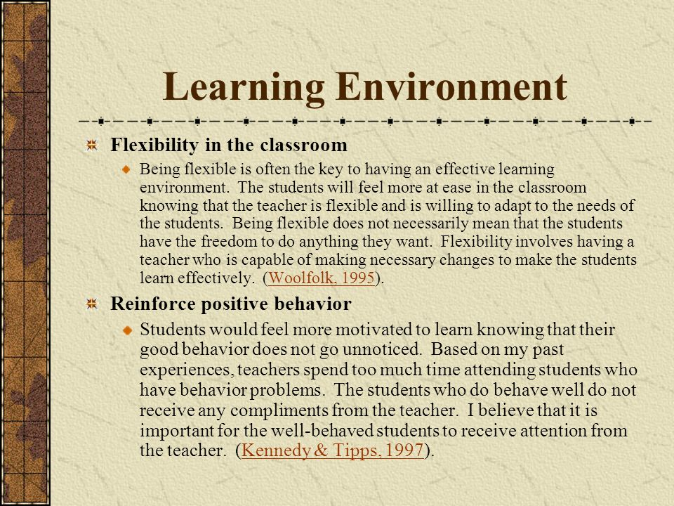 Learning Environment Flexibility in the classroom
