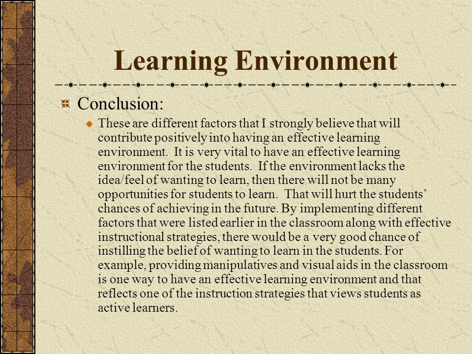Learning Environment Conclusion: