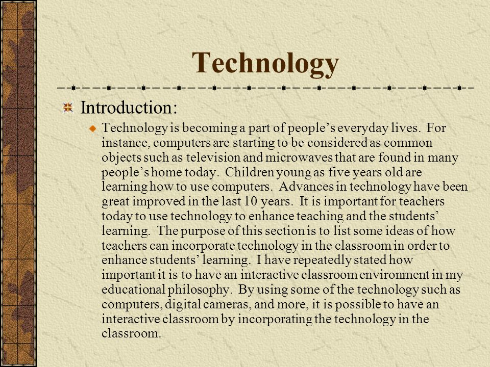 Technology Introduction:
