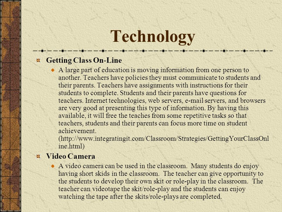 Technology Getting Class On-Line Video Camera