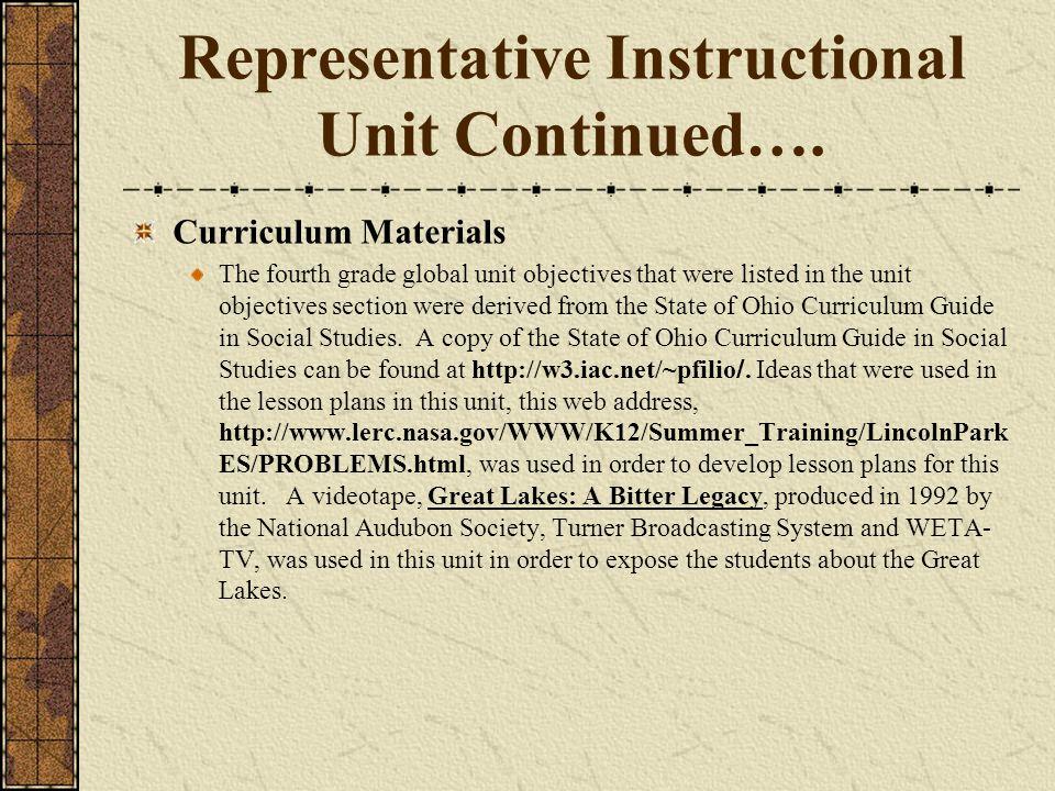 Representative Instructional Unit Continued….