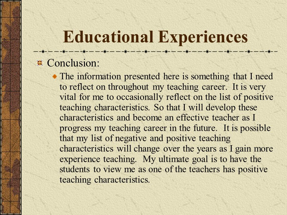 Educational Experiences