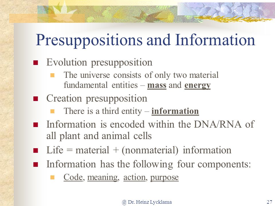 Presuppositions and Information