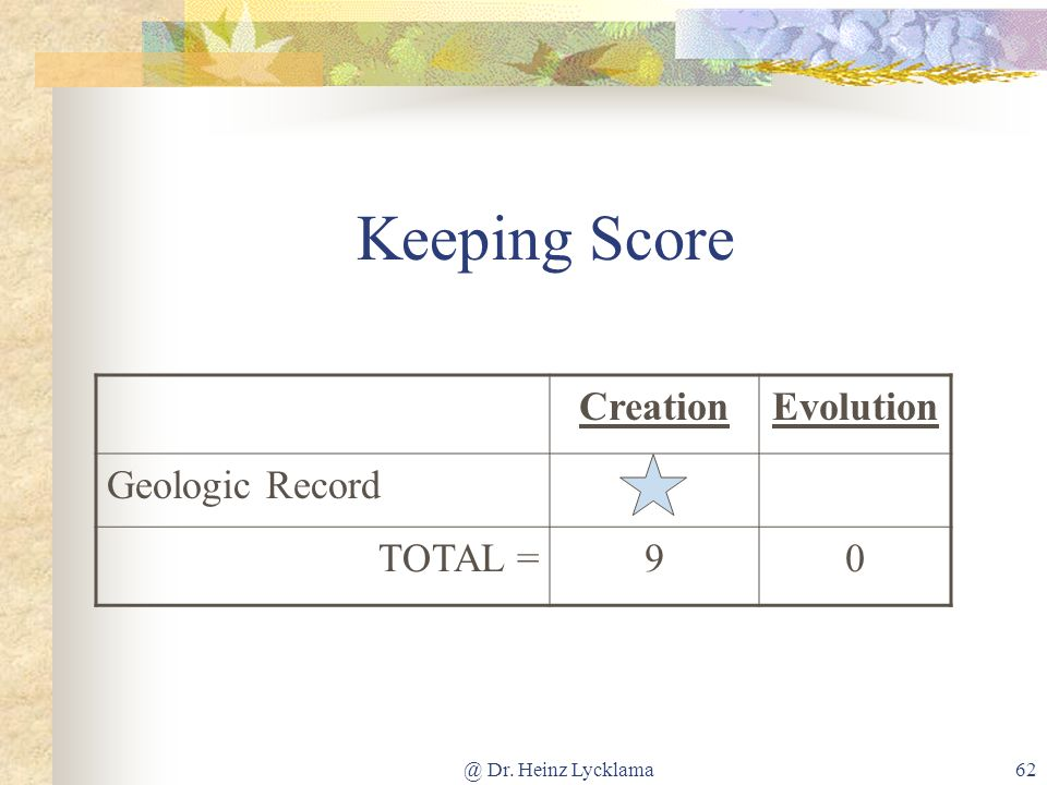 Keeping Score Creation Evolution Geologic Record TOTAL = 9