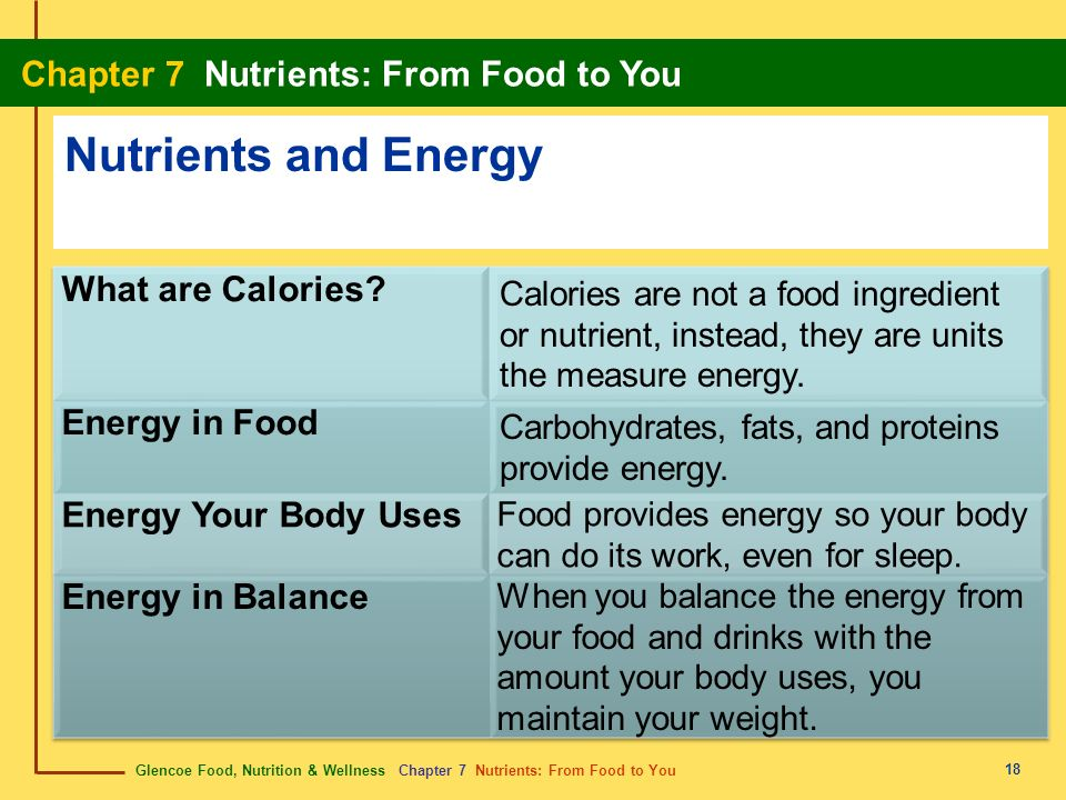 Nutrients and Energy What are Calories Energy in Food