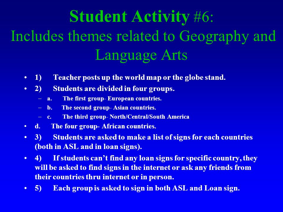 Student Activity #6: Includes themes related to Geography and Language Arts