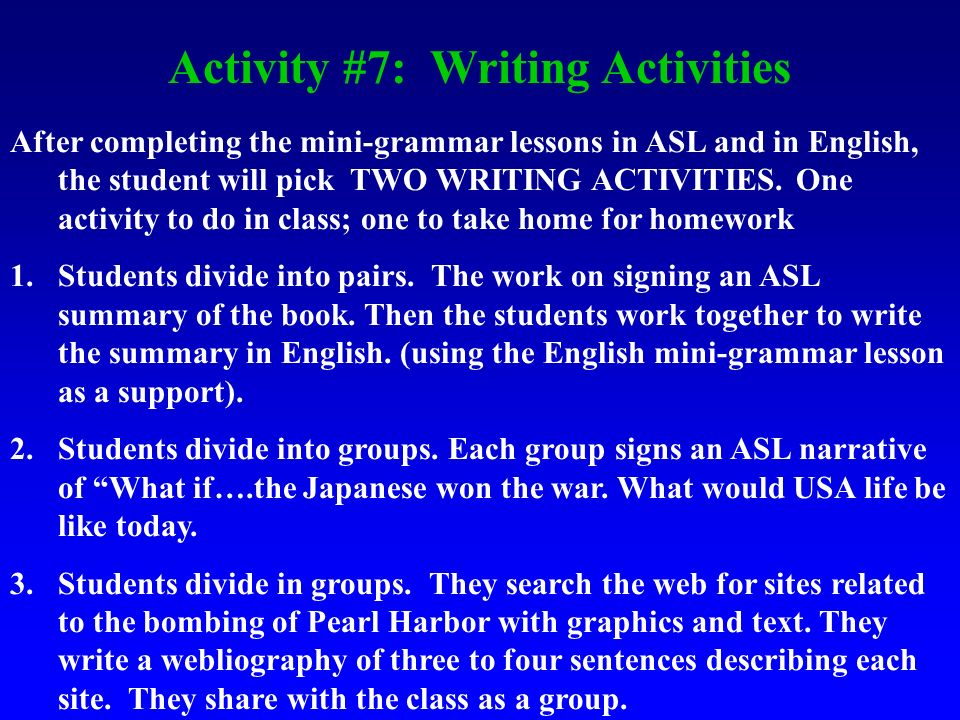 Activity #7: Writing Activities