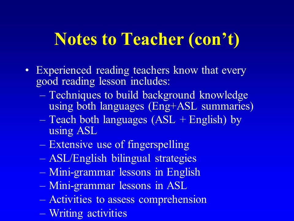 Notes to Teacher (con't)