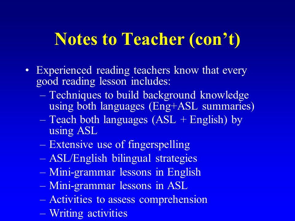 Notes to Teacher (con't)