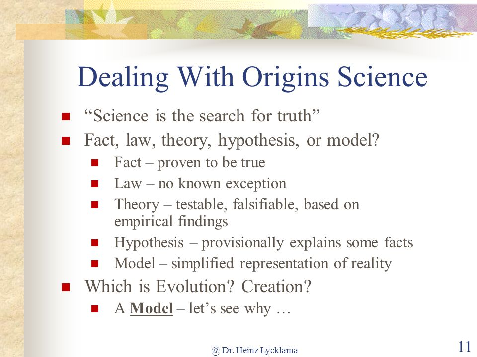 Dealing With Origins Science