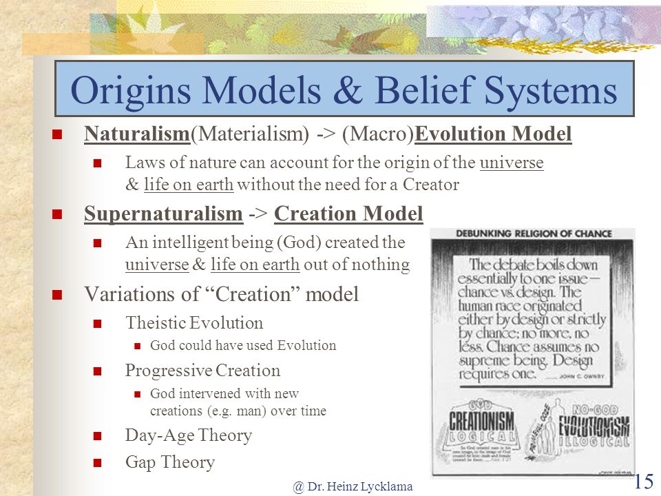 Origins Models & Belief Systems