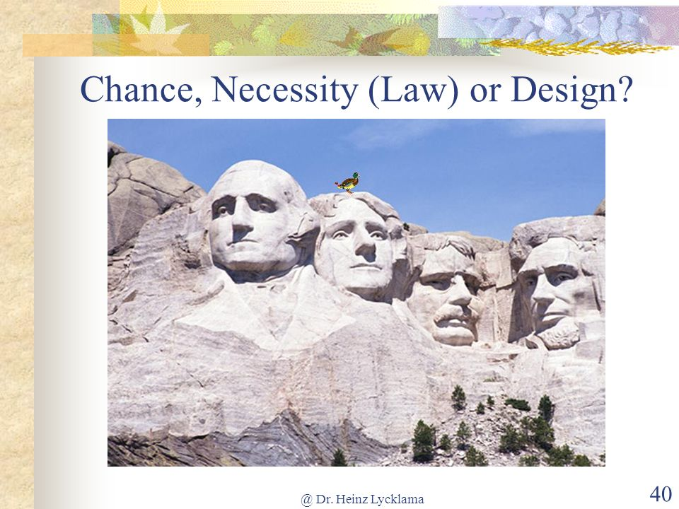 Chance, Necessity (Law) or Design