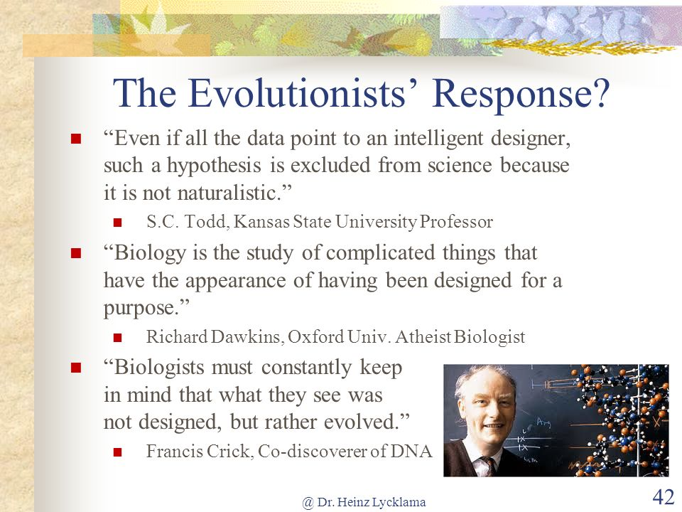 The Evolutionists' Response