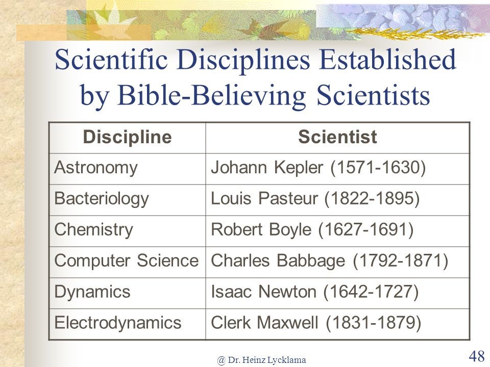 Scientific Disciplines Established by Bible-Believing Scientists