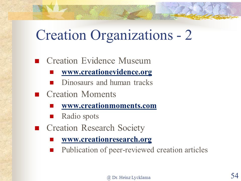 Creation Organizations - 2