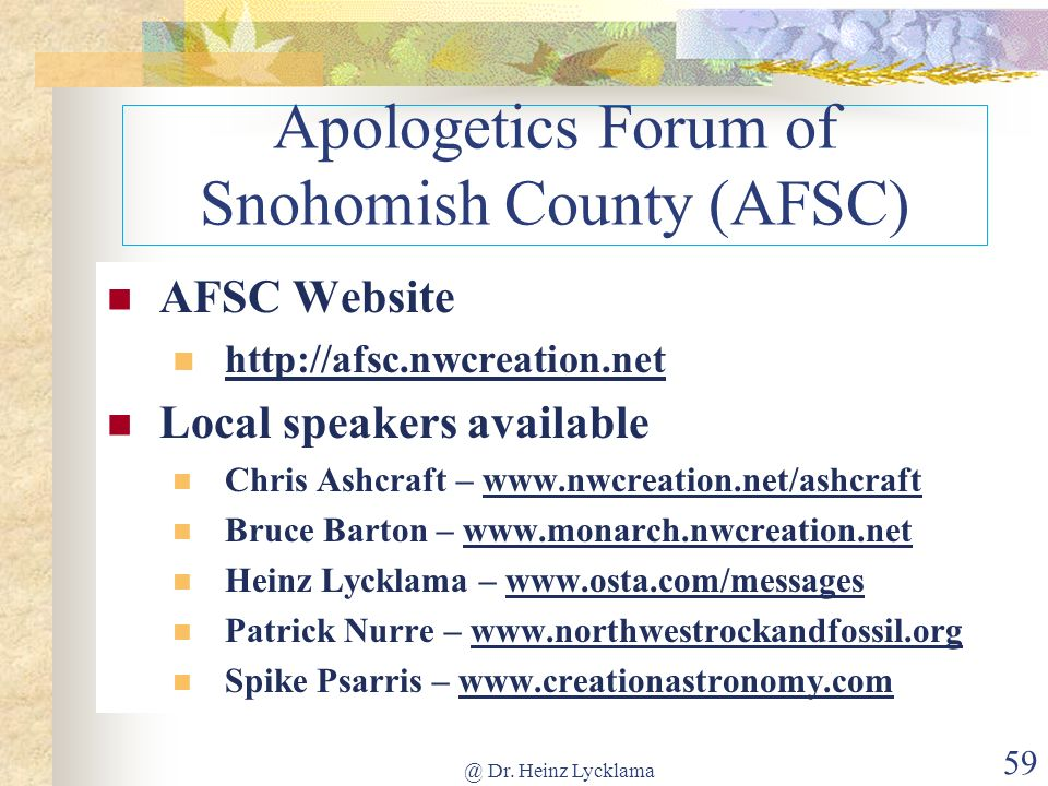Apologetics Forum of Snohomish County (AFSC)