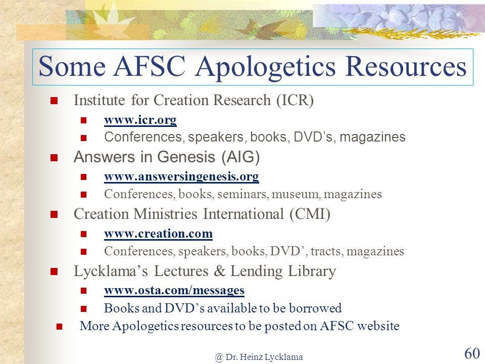 Some AFSC Apologetics Resources