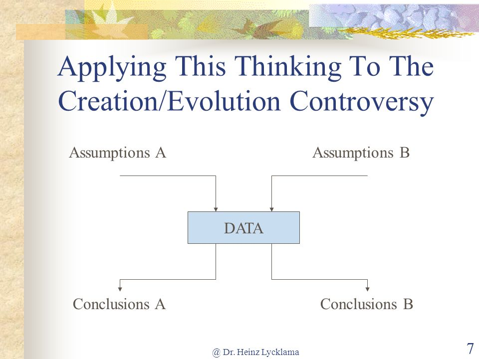 Applying This Thinking To The Creation/Evolution Controversy