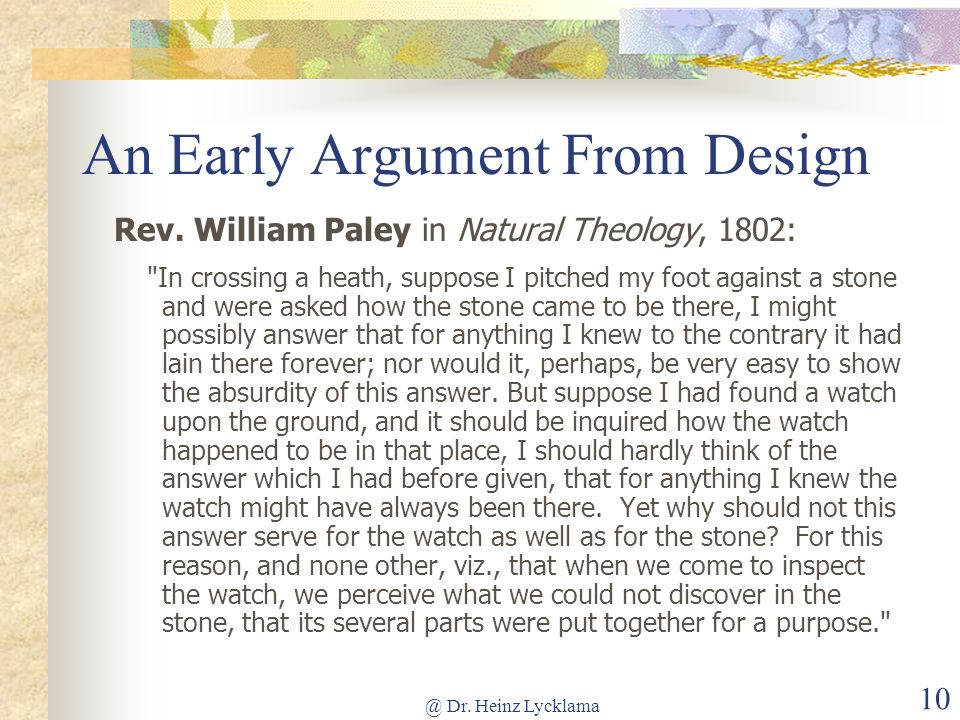 An Early Argument From Design