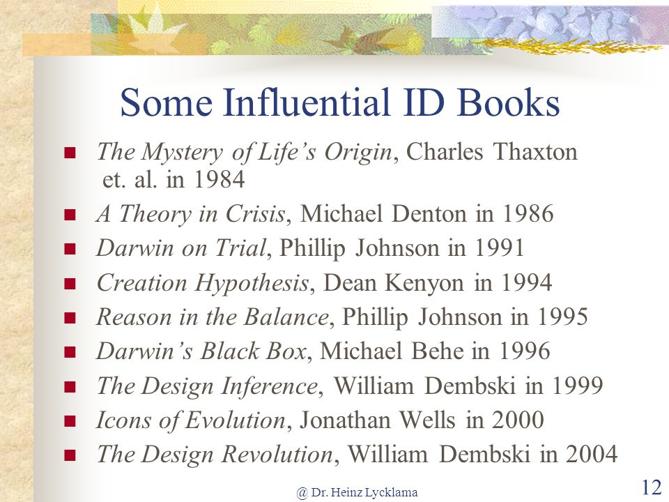 Some Influential ID Books