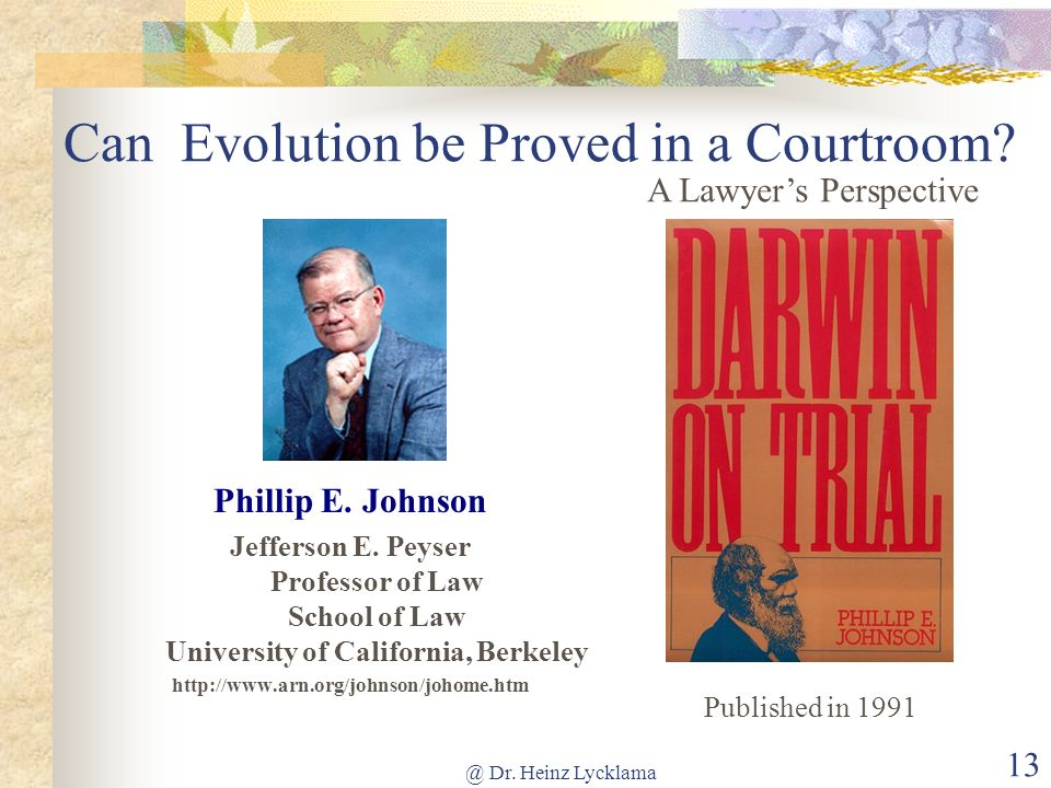 Can Evolution be Proved in a Courtroom