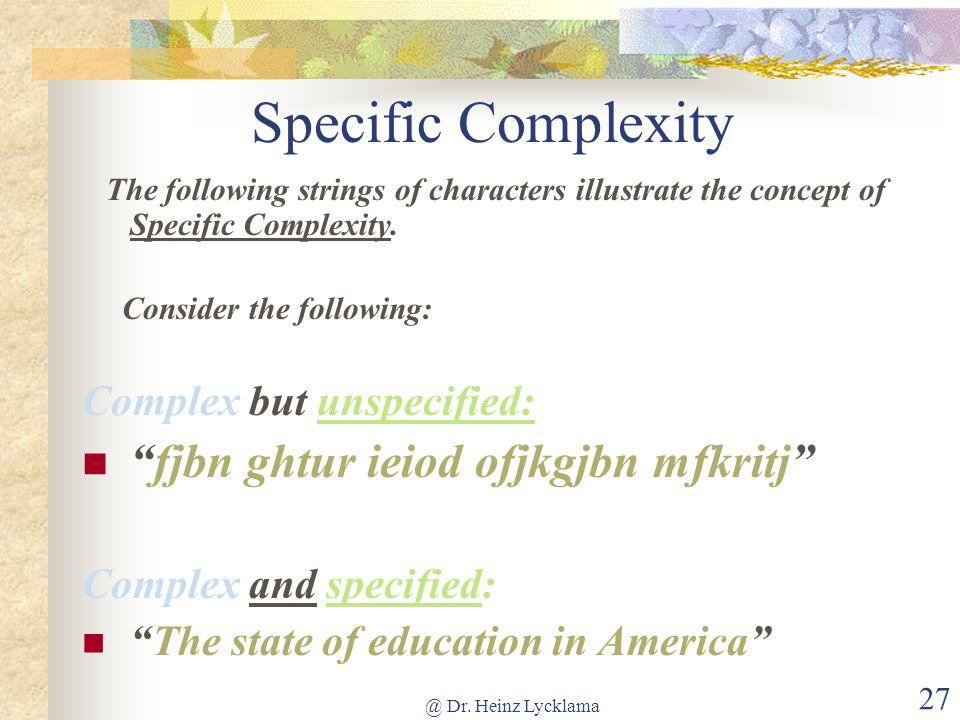 Specific Complexity fjbn ghtur ieiod ofjkgjbn mfkritj