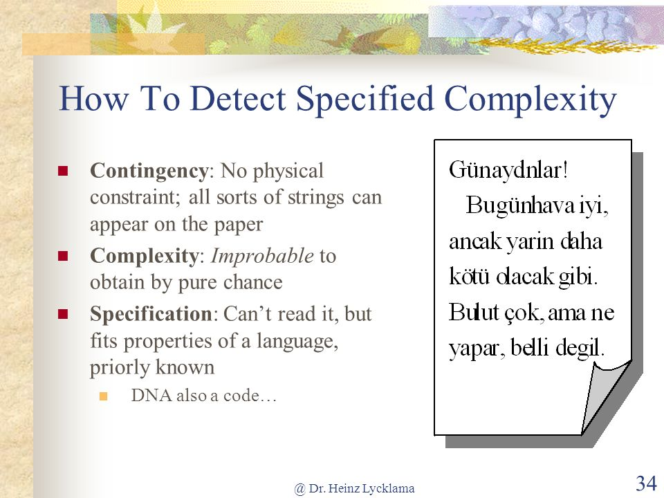 How To Detect Specified Complexity