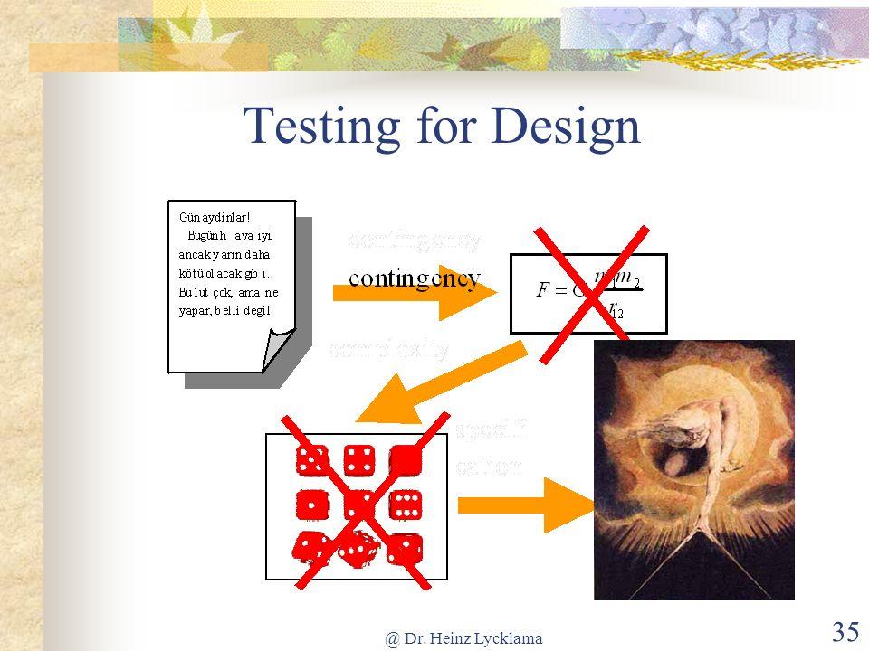 Testing for Design @ Dr. Heinz Lycklama