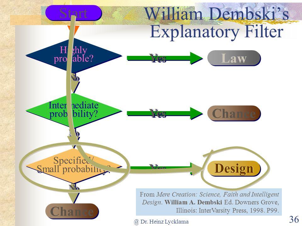 William Dembski's Explanatory Filter