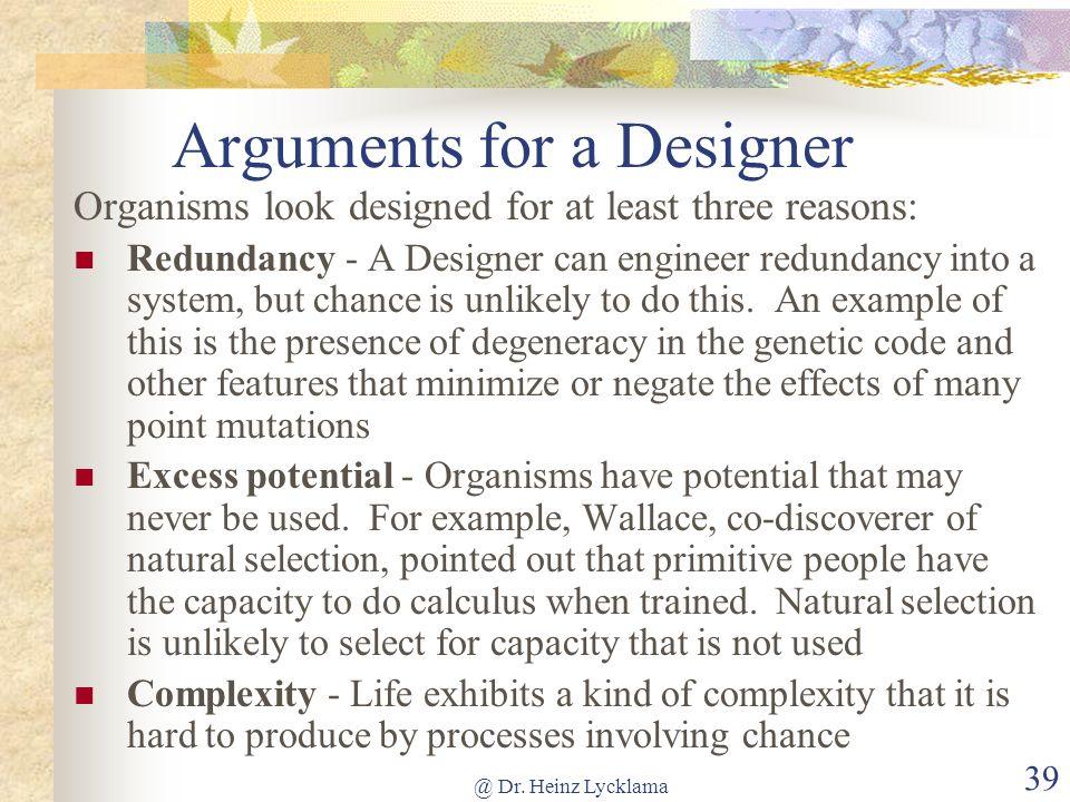 Arguments for a Designer