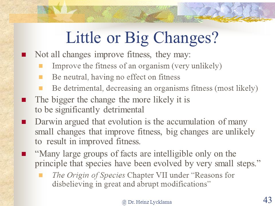 Little or Big Changes Not all changes improve fitness, they may: