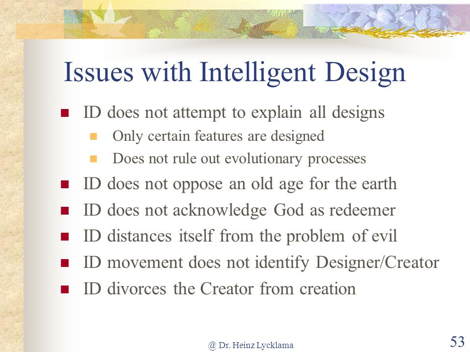 Issues with Intelligent Design