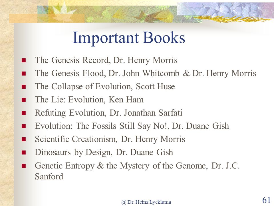 Important Books The Genesis Record, Dr. Henry Morris