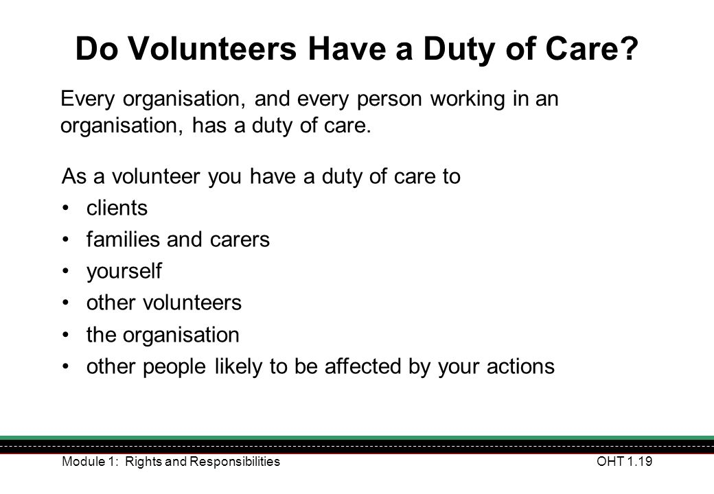 Do Volunteers Have a Duty of Care