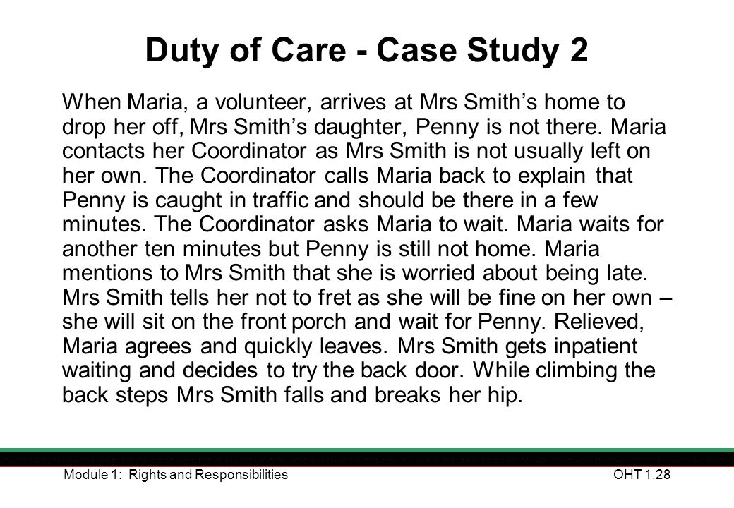 Duty of Care - Case Study 2