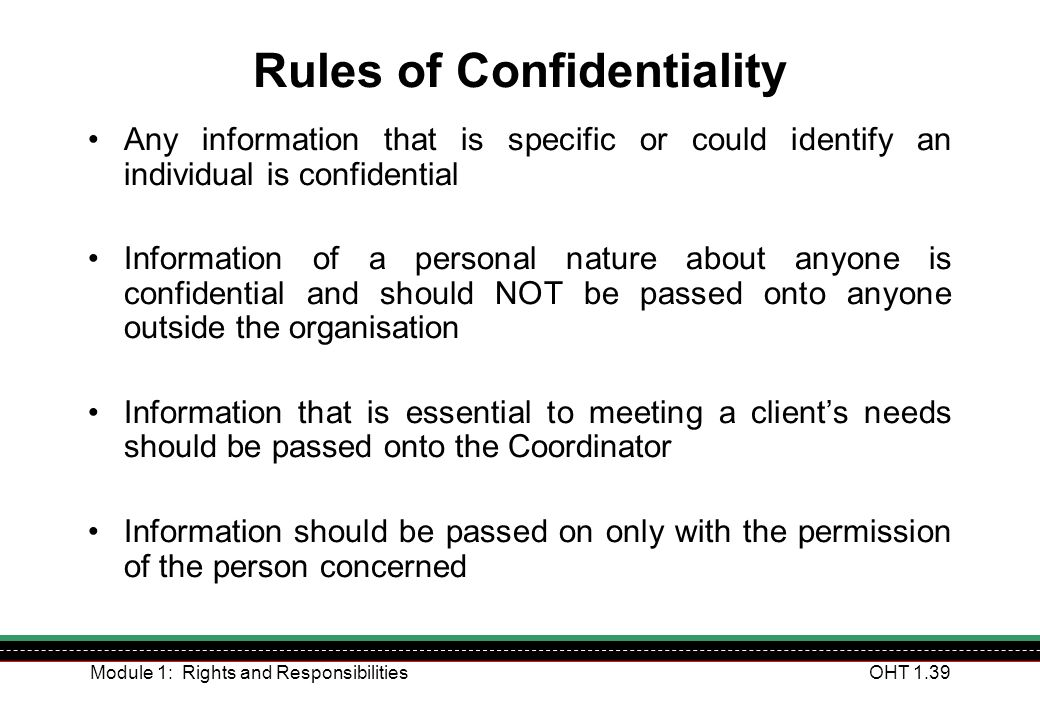 Rules of Confidentiality